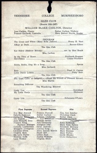 TN College Glee Club Program 1926-27