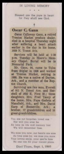 Oscar C Gann Obituary