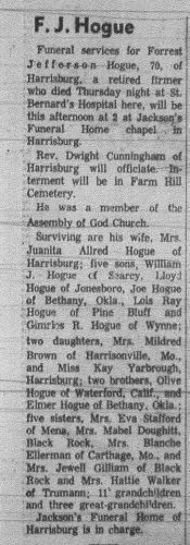 Forrest Jefferson Hogue obituary