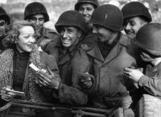 Marlene Dietrich with the troops