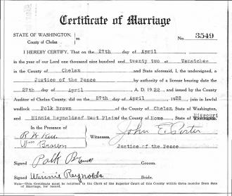 Effie Winnie (Agee) Reynolds Marriage License