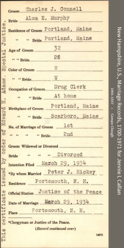 Charles J Connell--New Hampshire, U.S., Marriage Records, 1700-1971(29 mar 1934) front
