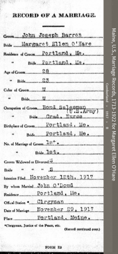 Margaret Eleanor O'Hare--Maine, U.S., Marriage Records, 1713-1922(1917)