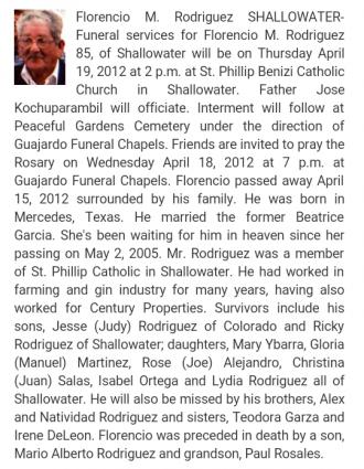 Florencio Rodriguez obituary