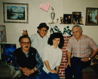 Ernie Stawnychka with the Munster Family. Photo taken in Hamilton ON in 1988.