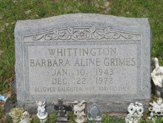 Barbara Aline (Grimes) Whittington gravsite