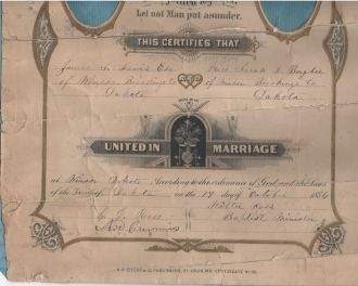 James and Sarah (Bugbee) Lewis marriage