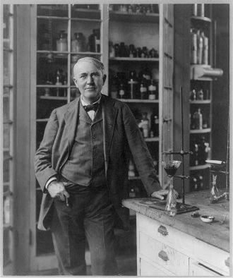 [Thomas Alva Edison, 1847-1931, three-quarter length...