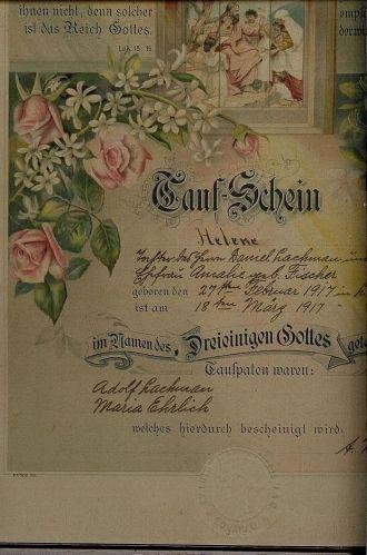 Helene Lachman Baptismal Record
