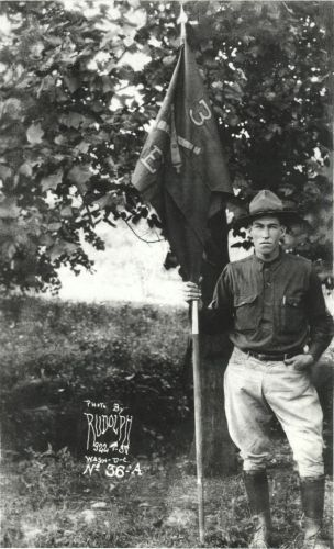 Grandfather with Company Flag
