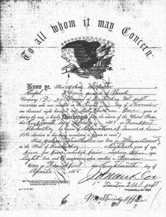 John Winchester Civil War Discharge