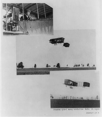 [Three scenes of Harry Houdini as aviator; close-up in...