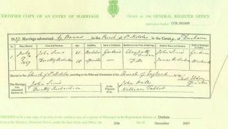 John & Dorothy (Richardson) Sims Marriage Certificate