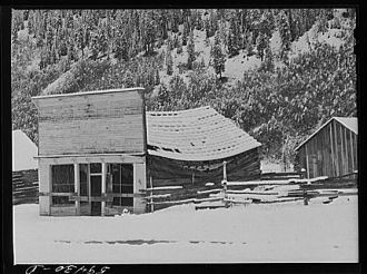 Ashcroft, Colorado. Ghost mining town after early blizzard