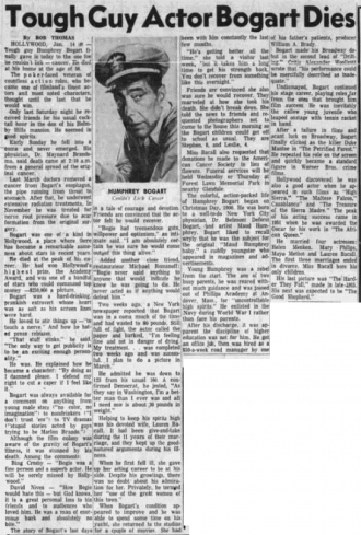 Humphrey DeForest Bogart Obituary