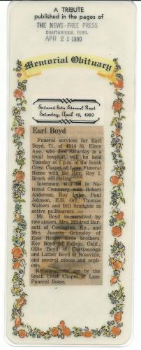 Earl Boyd Memorial Obituary