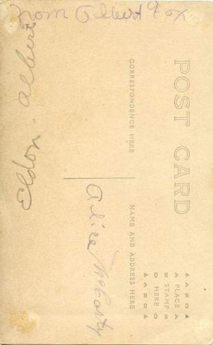 Back of postcard of Eldon Albert and Alice McCarty