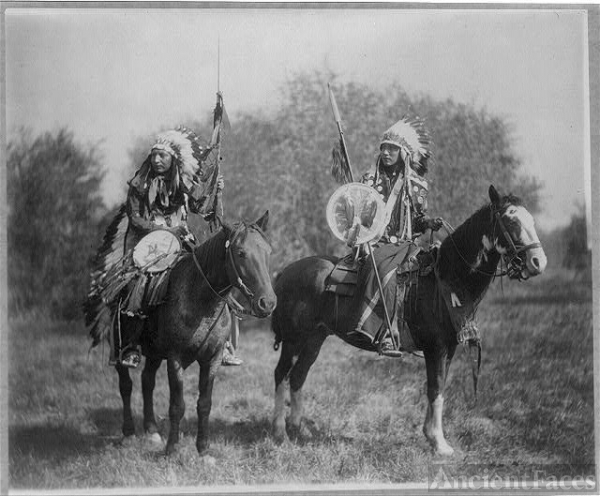 Two Sioux Native Americans on Horseback