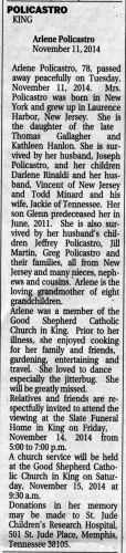 Policastro, Arlene Gallagher Minard -  obituary