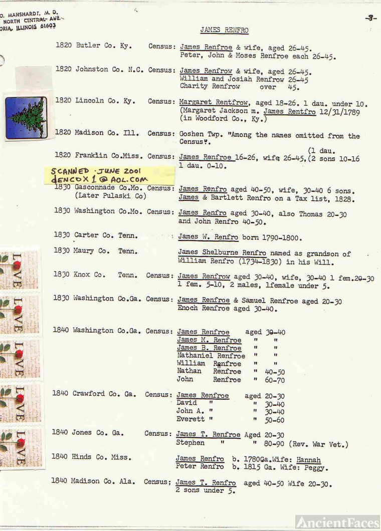 James Rentfro records (8of8)-Census Info