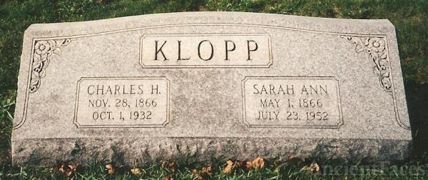 Headstone of Charles H. & Sarah A. (Brossman) Klopp