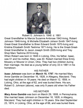 Robert G. Johnson, 1848-1881 My Great Grandfather, my Grandpa Johnson's Father