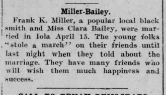 Clara L (Bailey) Miller and Frank Miller