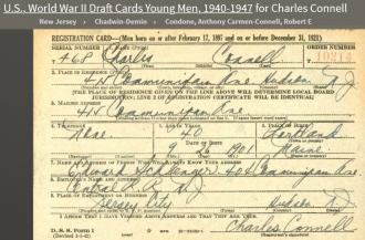 Charles J Connell--U.S., World War II Draft Cards Young Men, 1940-1947(16 feb 1942)