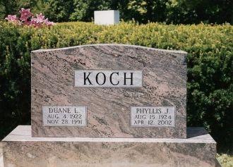 Duane Koch & Phyllis Reichard gravestone