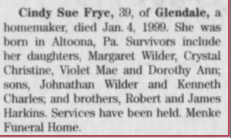 Cindy Sue Frye (obituary)