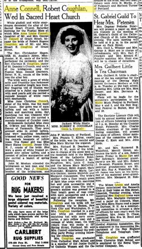 Anne Louise Connell-Coughlan--Portland Press Herald (Portland, Maine)(15 apr 1951)