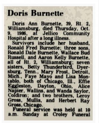 Doris Ann Burnette Obituary