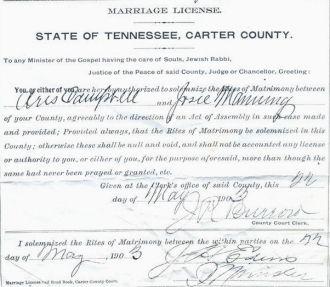 Marriage License Josie Manning & Aris Campbell
