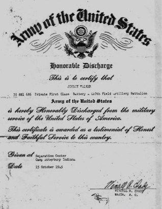 John Walker's Honorable Discharge
