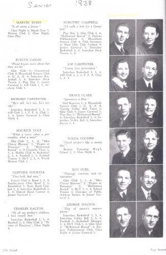 Marvin Byers & Logan High  Seniors, 1938
