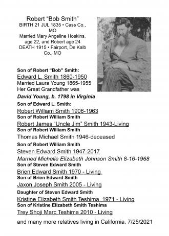 """Robert """"Bob Smith""""  b.1835 Cass Co., MO d. 1915 Fairport, De Kalb Co., MO"""
