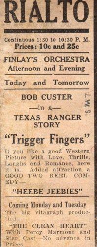 Bob Custer, Silent Screen Star