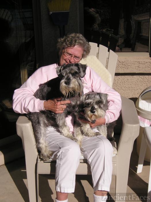 Janet Arlia & two of her miniature schnauzer dogs in Chandler AZ.