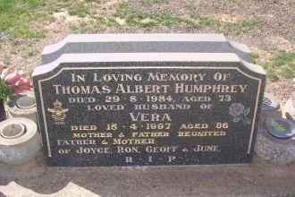 Vera and Thomas Albert Humphrey Gravesite
