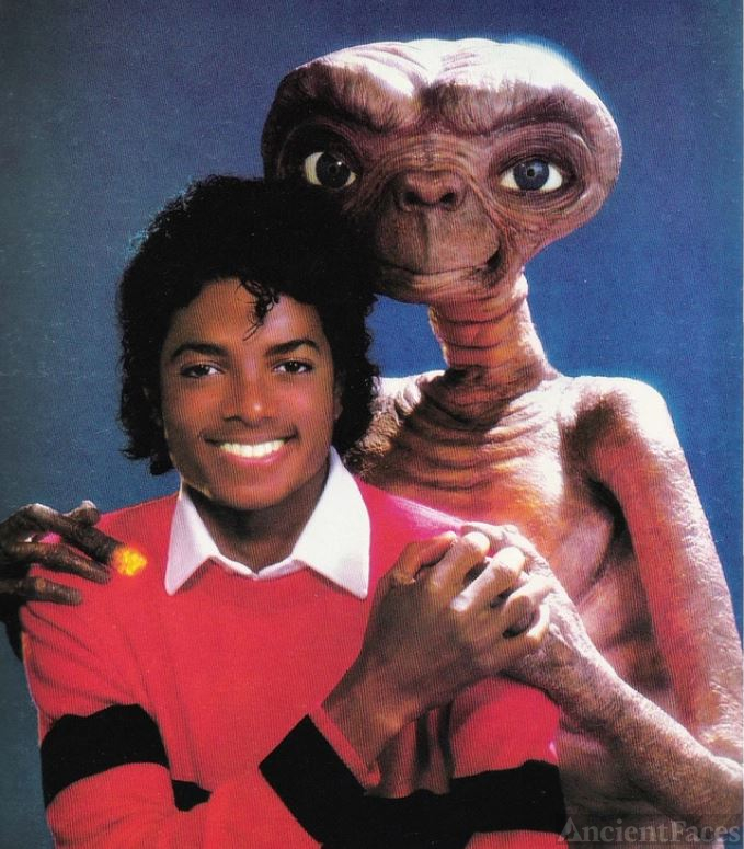 Michael Jackson with E.T. from the 1982 movie E.T. the Extra-Terrestrial