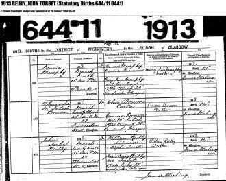 John Torbet Reilly birth record