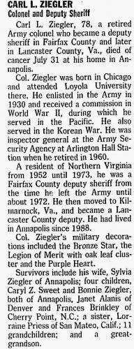 Carl L Ziegler Obituary