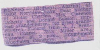 Agatha Benson's (Bedson's) death Notice