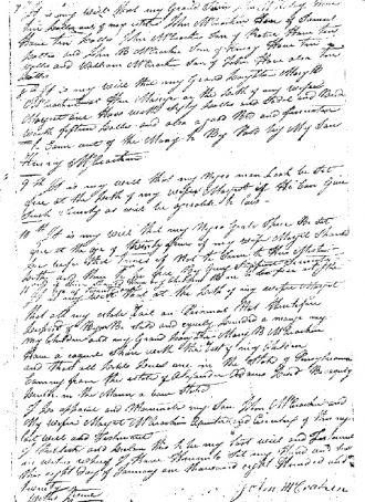 Will of John McCracken