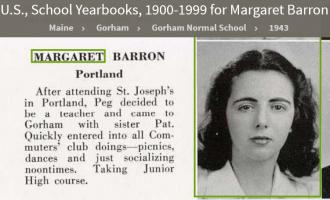 Margaret Theresa Barron--U.S., School Yearbooks, 1900-1999(1943)