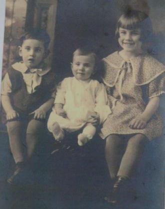 Calvin H Vanness on Left; brother Myron 'Buck'; sister Alice on Right.  My Photo of cousin.  Taken near Oxford, Butler Ohio.