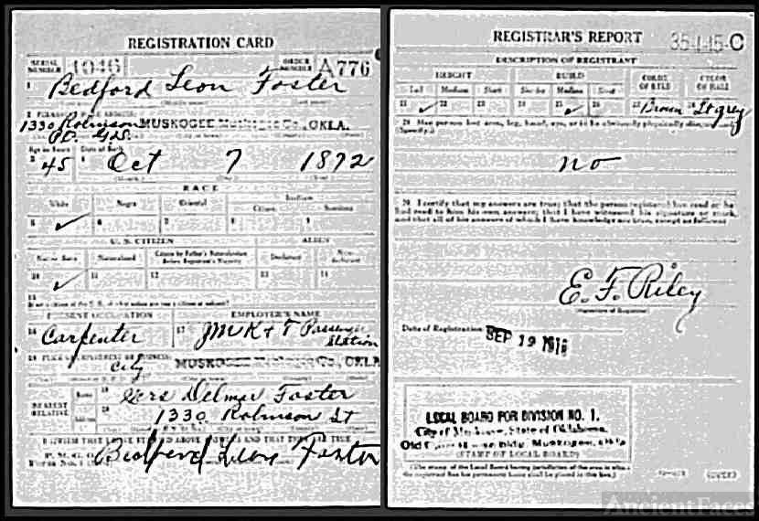 Bedford Foster Registration Card