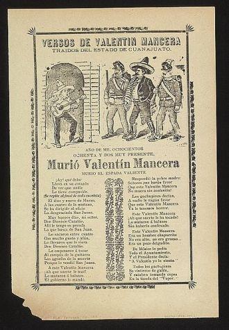 Versos de Valentín Mancera traidos del estado de Guanajuato