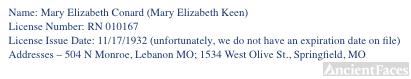Mary Elizabeth Conard's Nursing License