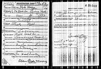 Alden Clyde Massey WW1 draft registration